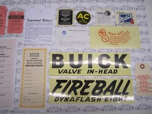 1948 Buick Special Super Engine Interior Decal tag Kit Set Of 21