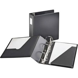 D Ring Binder W label Holder 4 Cap 11 x8 1 2 Black Crd11822