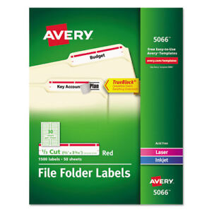 Permanent Filing Labels 1 3 Cut 1500 bx Red Ave5066