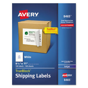 Inkjet Labels Full Sheet Permanent 8 1 2 x11 100 bx We Ave8465