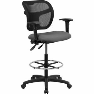 Mid back Mesh Drafting Chair With Gray Fabric Seat And Height Adjustable Arms