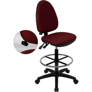 Mid back Burgundy Fabric Multi functional Drafting Chair With Adjustable Lumbar