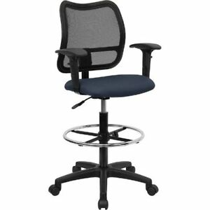 Mid back Mesh Drafting Chair With Navy Blue Fabric Seat And Height Adjustable
