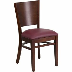 Lacey Series Solid Back Walnut Wooden Restaurant Chair Burgundy Vinyl Seat