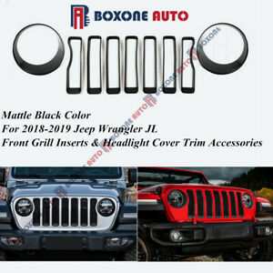 Front Grille Inserts Headlight Cover Trim Accessories For Jeep Wrangler Jl 2018
