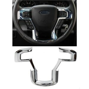 Steering Wheel Moulding Chrome Cover Trim For 15 18 Ford F150 17 18 F250 F350