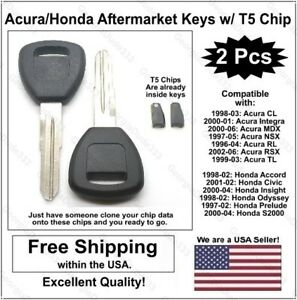 2pak Acura Honda Aftermarket Replacement Key Blanks With T5 Transponder Chips