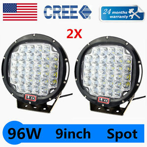 2x Round 9 96w Cree Led Driving Spot Work Light Offroad Jeep Vs Hid 100w Black