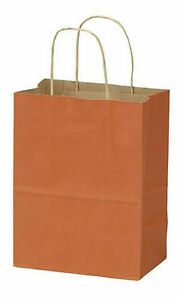 Paper Bags 100 Burnt Orange Kraft Retail Merchandise Shopping 8 X 4 X 10