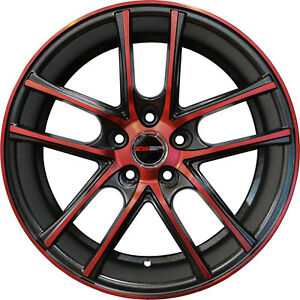 4 Zero Wheels 18 Inch Black Crimson Red Rims Fits Nissan Sentra 2013 2018