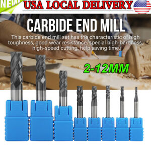8pcs 2 12mm 4 Flutes Carbide End Mill Set Tungsten Steel Milling Cutter Tool Usa