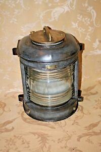 Antique Large Perko Maritime Brass Tin Glass Cover Marine Lamp Works Removed