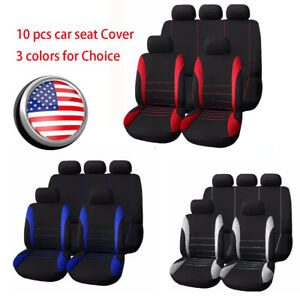 10 Pcs Car Seat Covers Full Set Front Rear Seat Cushions Universal Cover Canvas