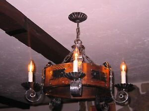 Vintage 1960 Spanish Ceiling Chandelier Light Solid Wood Wrought Iron Style Ec