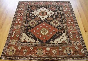 4 4 X 5 3 Antique Shirvan Caucasian Hand Made 100 Wool Oriental Rug