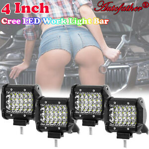 4x 4 in Led Cube Pods Bar Spot Utv Fog Lights Auto Off Road Work Light