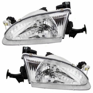Headlamp Head Light 1998 1999 2000 Toyota Corolla Driver Passenger Set Of 2