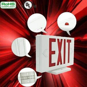 Red Led Emergency Exit Light Sign 1 2 4 6packs Battery Backup Ul Fire Building
