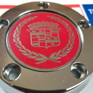 Cadillac Zenith Dayton Wire Wheel 2 25 Metal Chip Emblems Chrome red