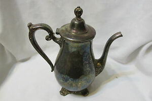 Vintage Victorian Rose Silver Plated Coffee Tea Set Wm Rogers And Sons Tea Pot