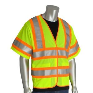 Pip Class 3 Reflective Self Extinguishing Mesh Safety Vest Yellow lime