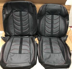 Jeep Wrangler Jl Custom Black Leather Seat Covers Sahara Or Sport Red Stitch