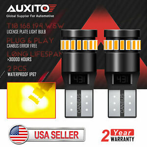 2x T10 168 194 Amber Yellow Led Canbus No Error License Side Marker Light Bulb