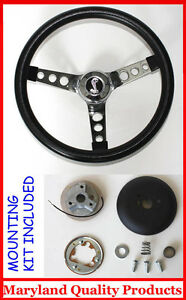 1970 1978 Mustang Cobra Ii Black Steering Wheel 14 1 2 Cobra Snake Center