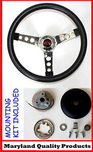 1964 1965 Chevelle El Camino Black And Chrome Steering Wheel Red black 14 1 2