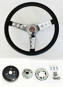 1969 1993 Oldsmobile Cutlass F85 98 442 Steering Wheel Black And Chrome 14 1 2