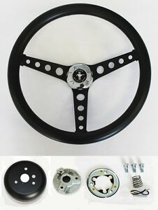 65 69 Ford Mustang Steering Wheel Black On Black 14 1 2 Mustang Center Cap