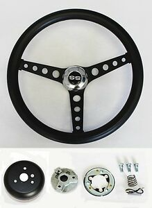 Chevelle Nova Camaro Impala Black On Black Spokes Steering Wheel 14 1 2 Ss Cap