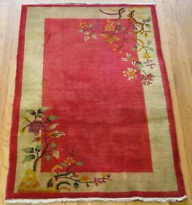 3 X 4 9 Beautiful Antique Chinese Art Deco Hand Knotted Wool Oriental Rug