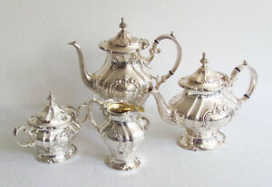 Four Piece Gorham Silver Plate Chantilly Pattern Coffee Tea Set Service