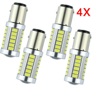 Us 4x Bay15d 1157 Car Tail Stop Brake Light 5630 33smd Led Canbus Bulb 12v White
