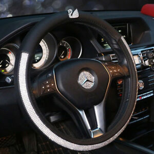 Car Steering Wheel Cover 38cm Bling Rhinestone Swan Deluxe Pu Leather For Girl