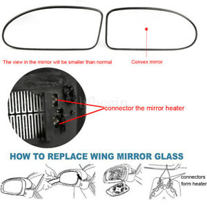 Pair R L Side Heated Wing Door Mirror Glass Ford Focus Mk1 1998 04 Clip On