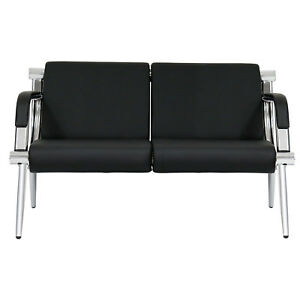 2 seat Guest Chair Waiting Room Bench Airport Reception Barber Black Pu Leather