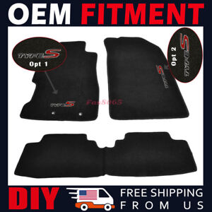 Fit 01 05 Honda Civic 02 05 Civic Si Floor Mats Black Carpetsnylon Type S Emblem