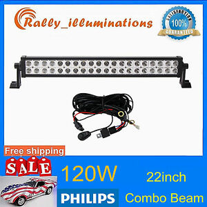 Philips 22 120w Led Work Light Spot Flood Driving Tractor Fog Lamp free Wiring