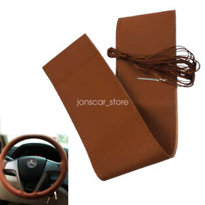 Brown Smooth Face Leather Diy Hand Stiching Car Steering Wheel Cover 15 38cm