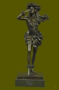 Vintage Bronze Colored Metal Hawaiian Hula Dancer Motion Hot Cast Figurine Sale