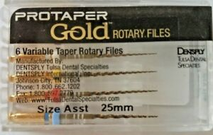 Protaper Gold Rotary Files 25 Mm Sx f3 Dentsply Tulsa Assorted Endodontics
