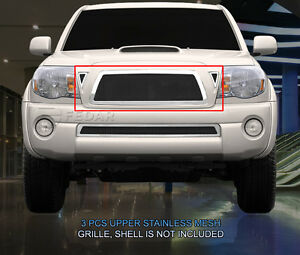 Fedar Fits 2005 2010 Toyota Tacoma Black polished Wire Mesh Grille Combo Insert