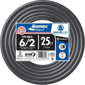 25 Ft 6 2 Stranded Romex Simpull Cu Nm b W g Wire Home Electrical Building