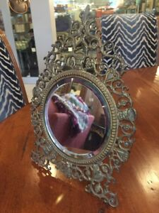 Antique Or Vintage Ornate Brass Standing Table Or Wall Mirror With Faces