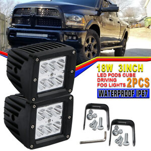 2pcs 18w Led Work Light Flood Truck Offroad Light For Tractor Jeep Lights Square