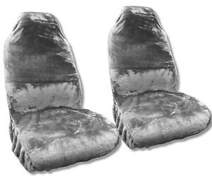 Gray Faux Sheepskin Seat Cover Pair Soft Plush Synthetic Gold Wool Bucket Seat