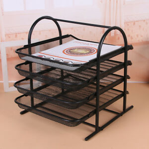 Efficient Folder Black Desktop 4 tier Shelf Tray Organizer Steel Mesh File Box