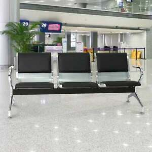 3 seat Reception Guest Chair Waiting Room Airport Garden Salon Barber Bench